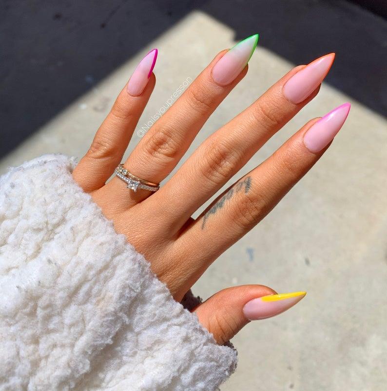 Pastel stiletto nail design