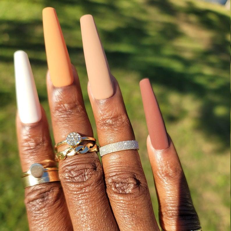 Nude gradient matte nails