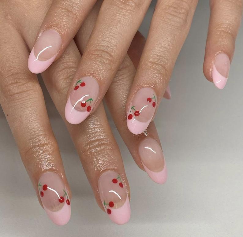 Cherry almond nail design