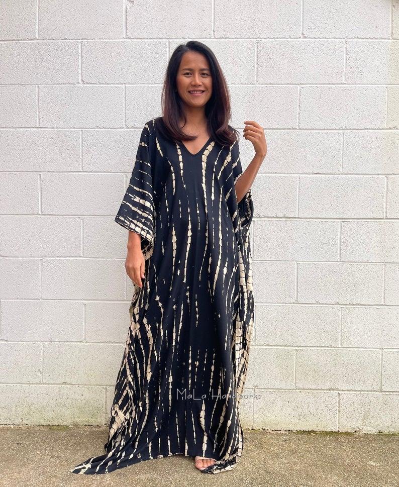 Long flowy black house dress