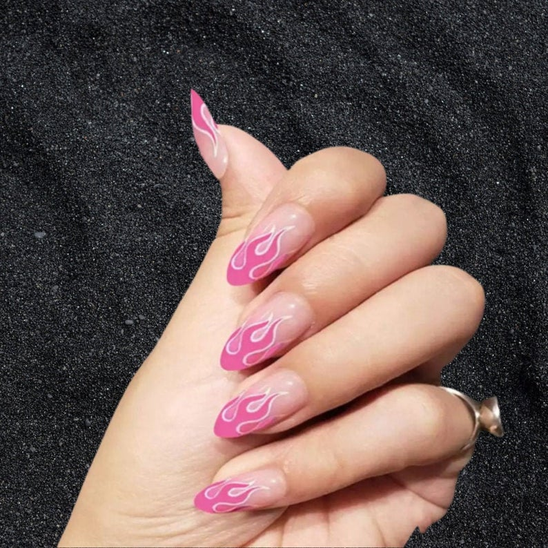Almond nails with flame design