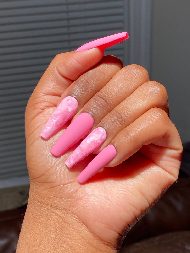Pink matte nails with marble