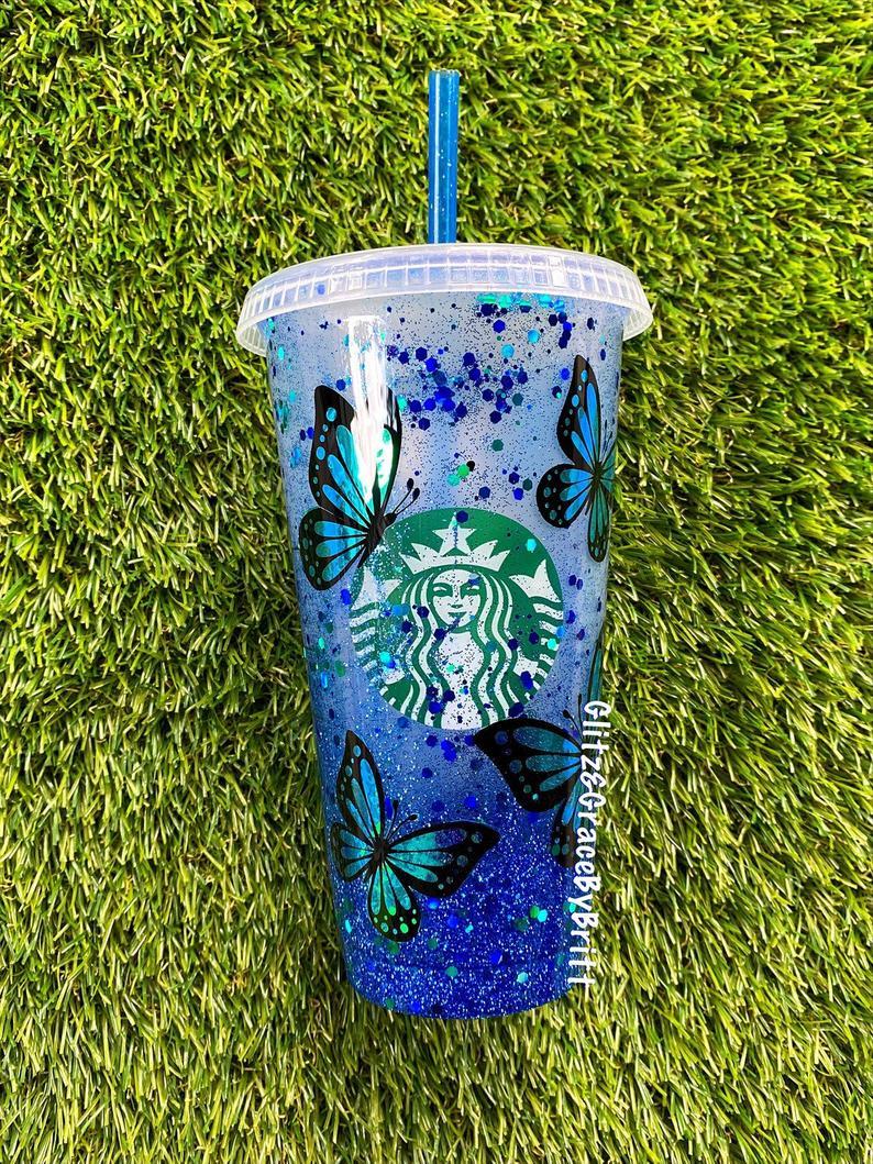 Blue glitter and butterflies customized starbucks cup