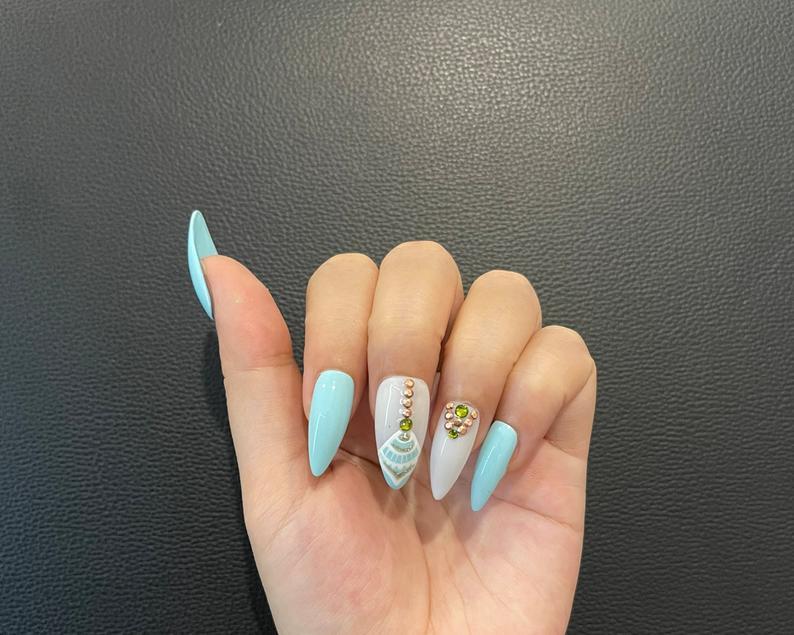 Light blue boho almond nail designs