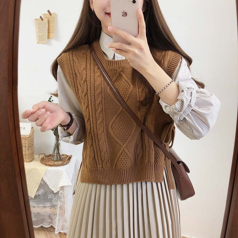 Brown knitted sweater vest for dark academia outfits
