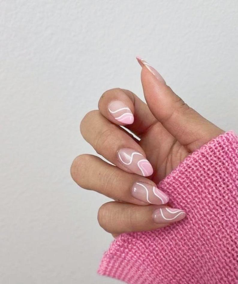 Wavy almond nail designs