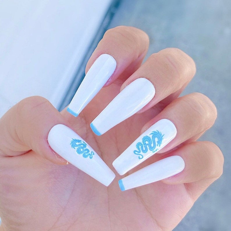 White and dragon blue nails