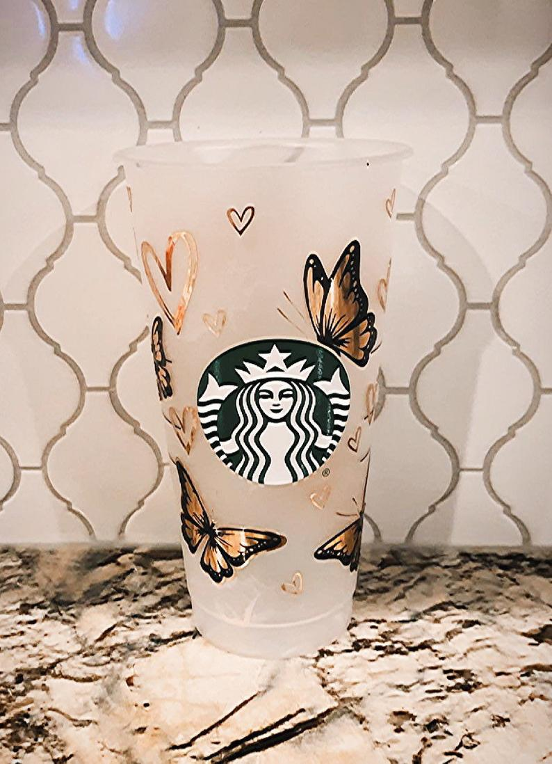 Vinyl gold butterfly customized starbucks cup