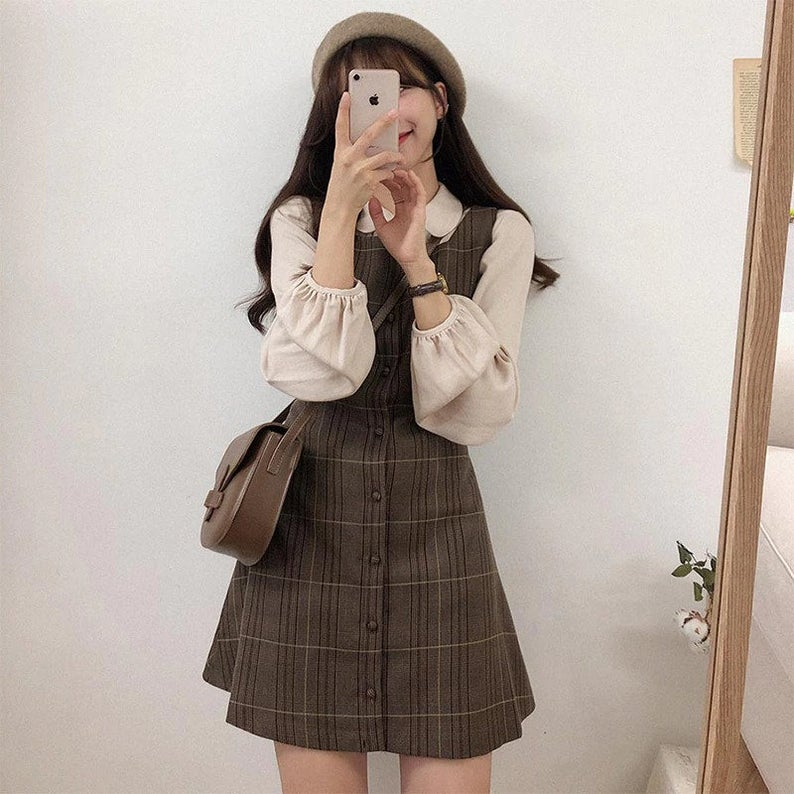 Plaid dress and top set from Etsy for dark academia outfits