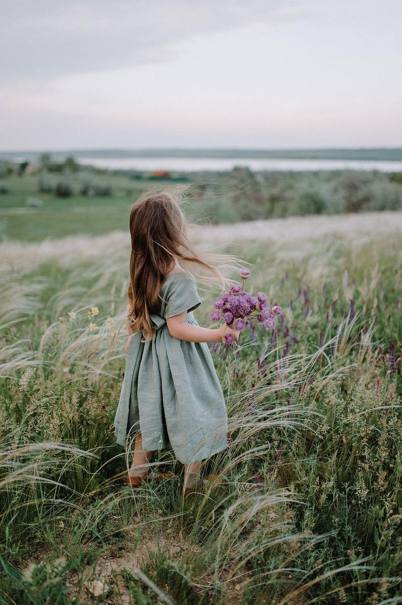 Sage green linen dress for baby girls
