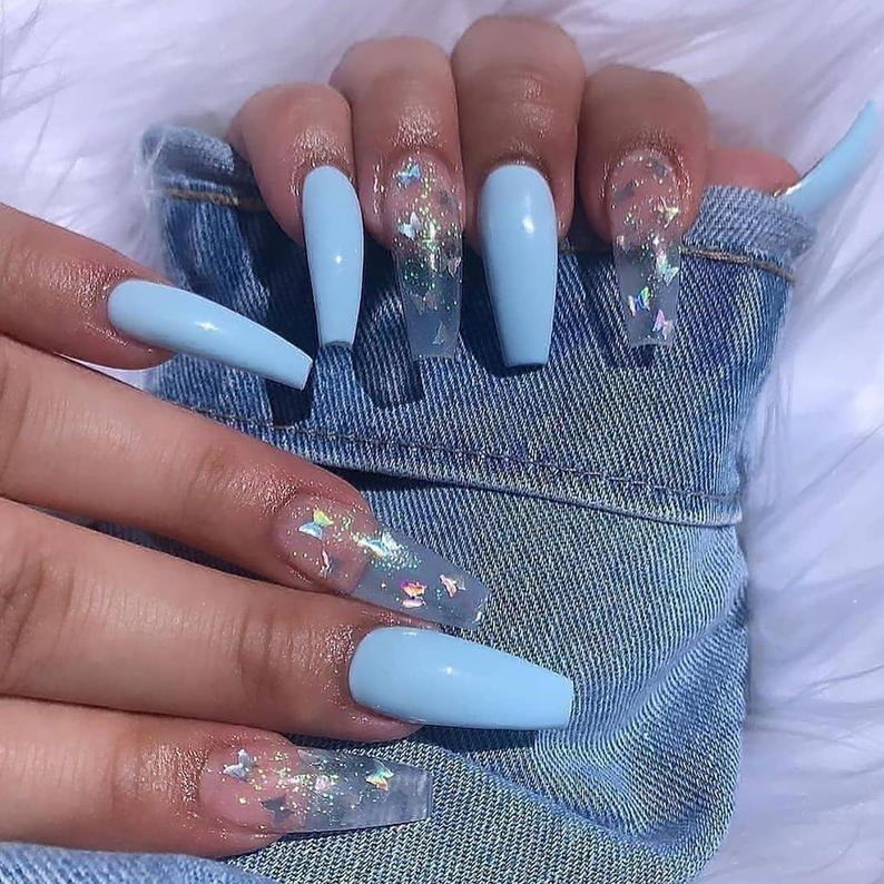 Blue and transparent butterfly design for coffin nails