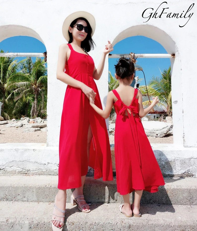Matching flowy red romper for mom and daughter