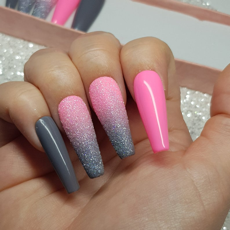 Pink and grey nails with ombre effect