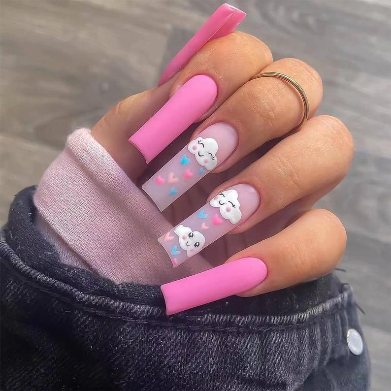 Matte pink and transparent design for coffin nails