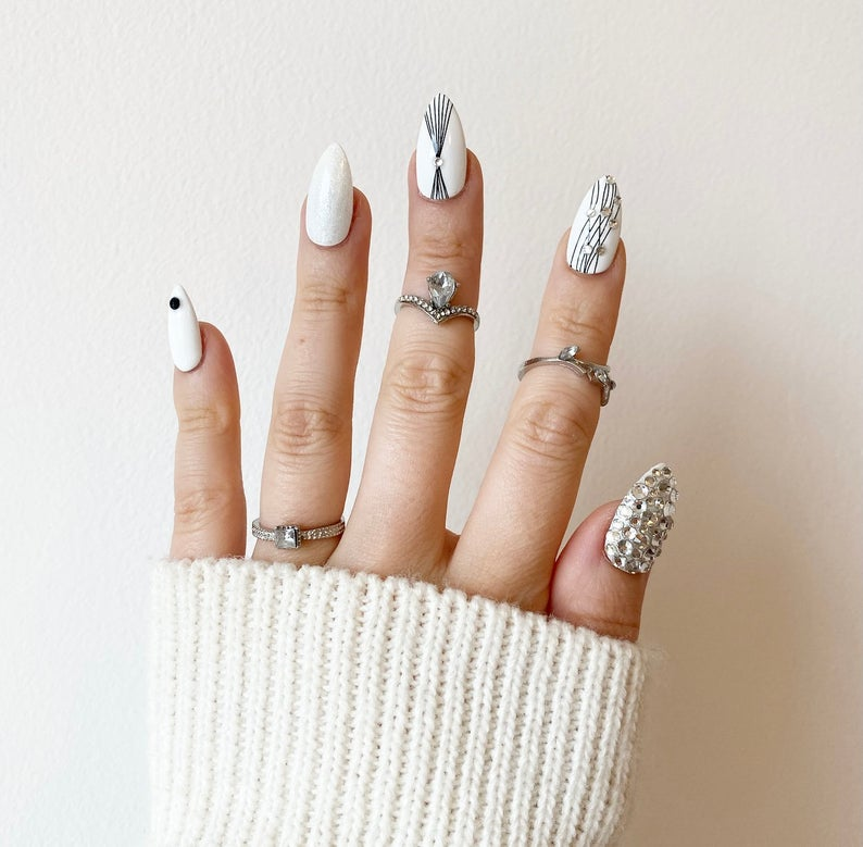 Black and white nails with rhinestones