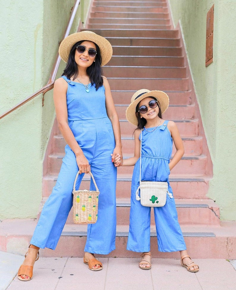 Matching blue mommy and me jumpsuits
