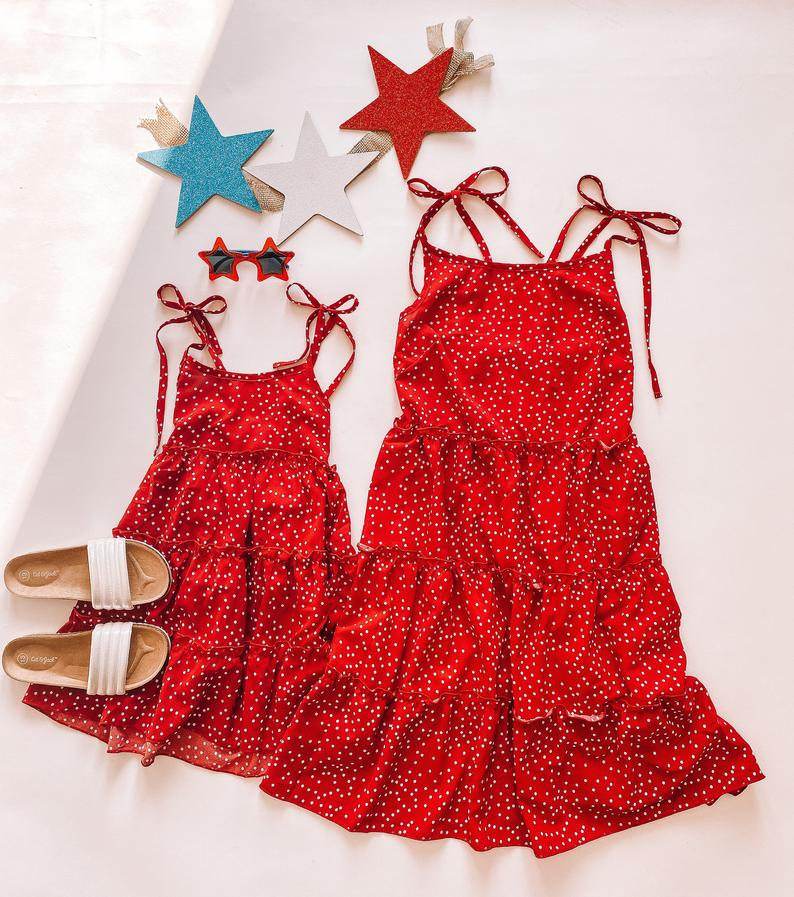 Red cami dress mommy and me outfit
