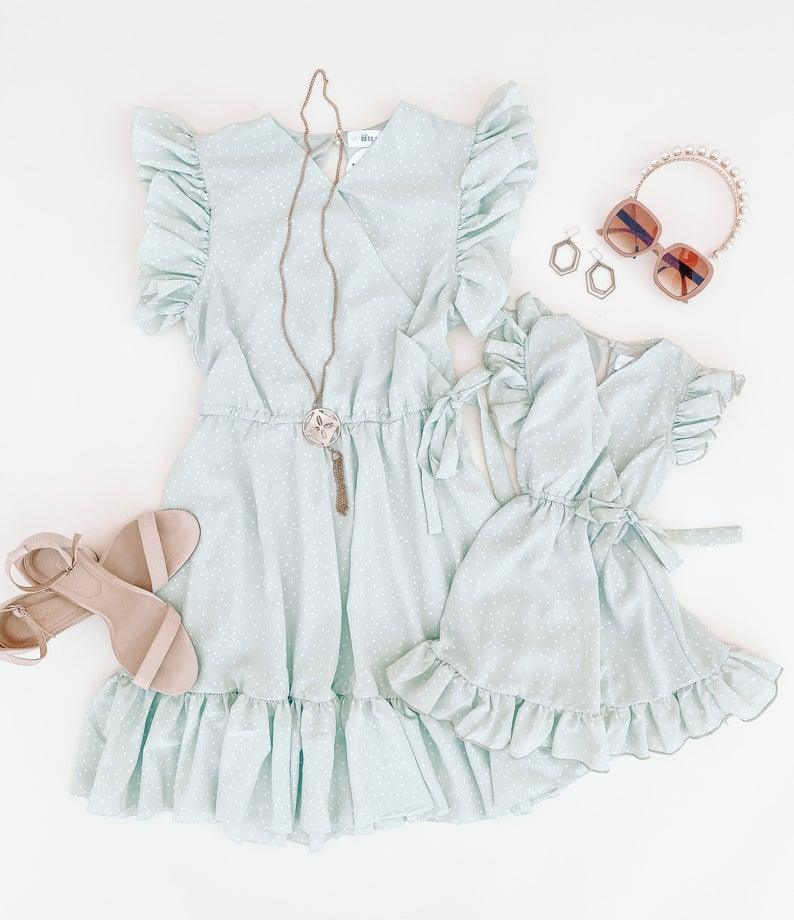 Pistachio ruffled dress mommy and me outfit