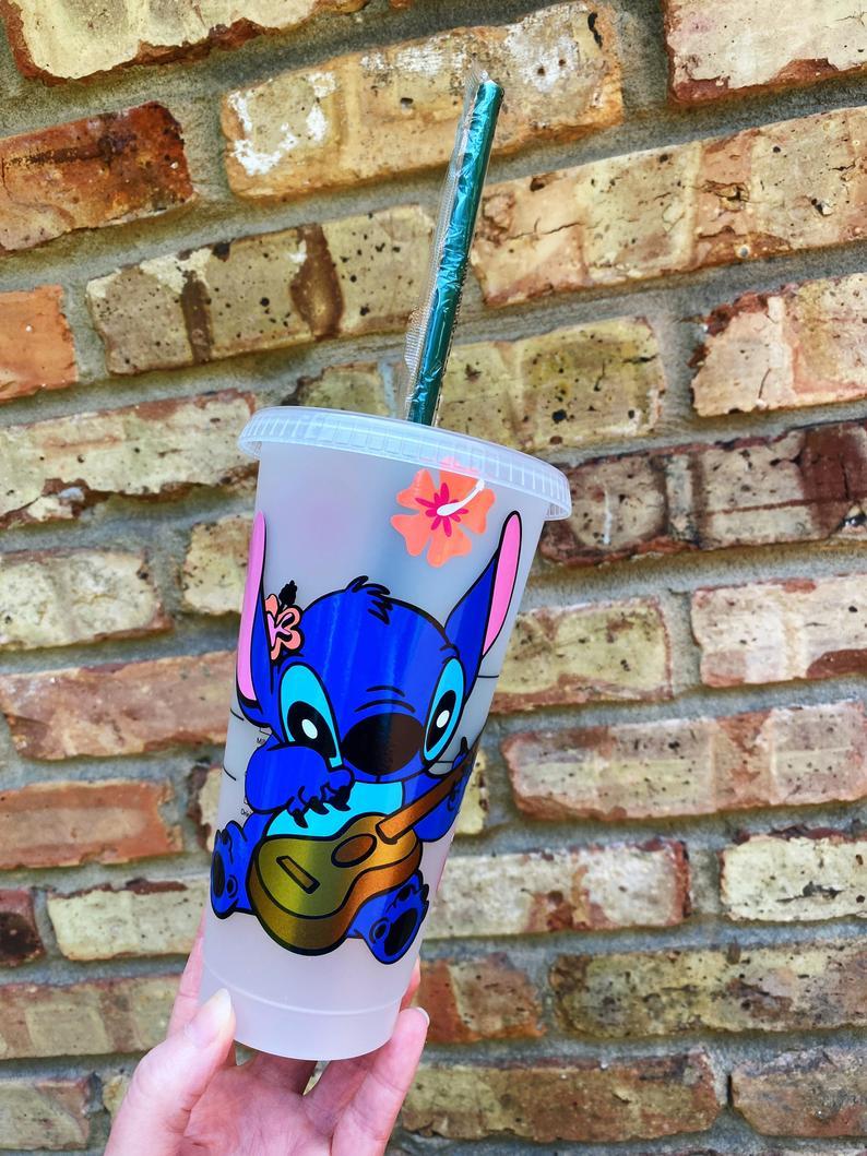 Stitch from Lilo and Stitch customized starbucks cup