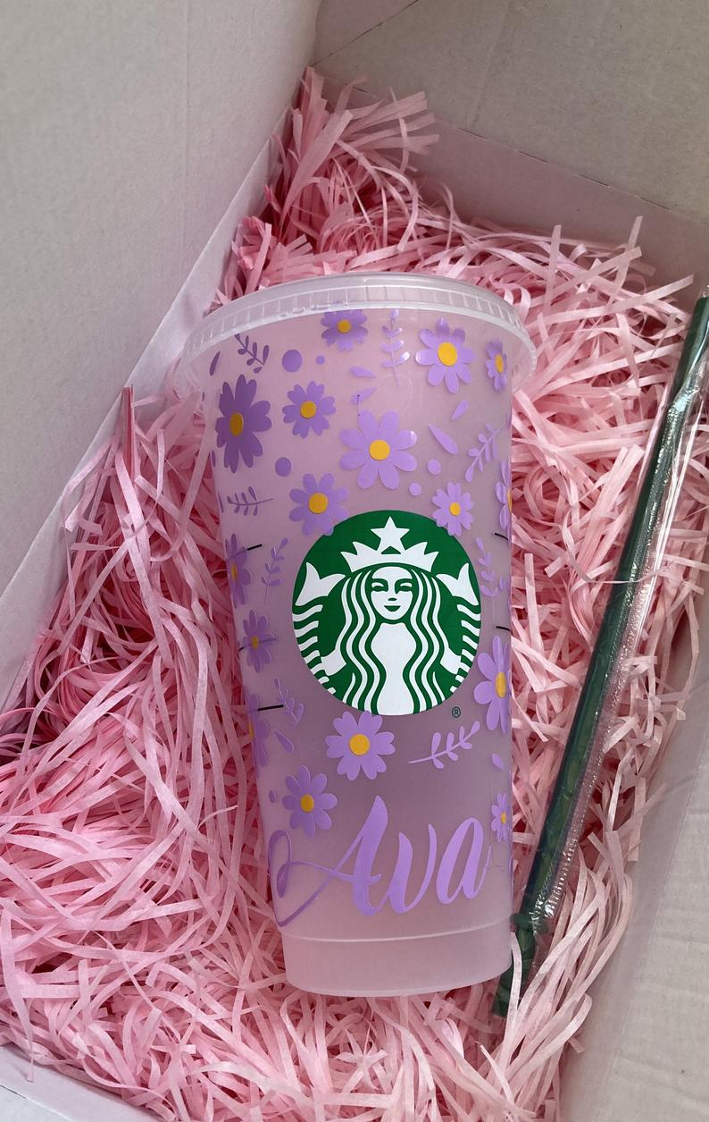 Purple floral personalized Starbucks tumbler