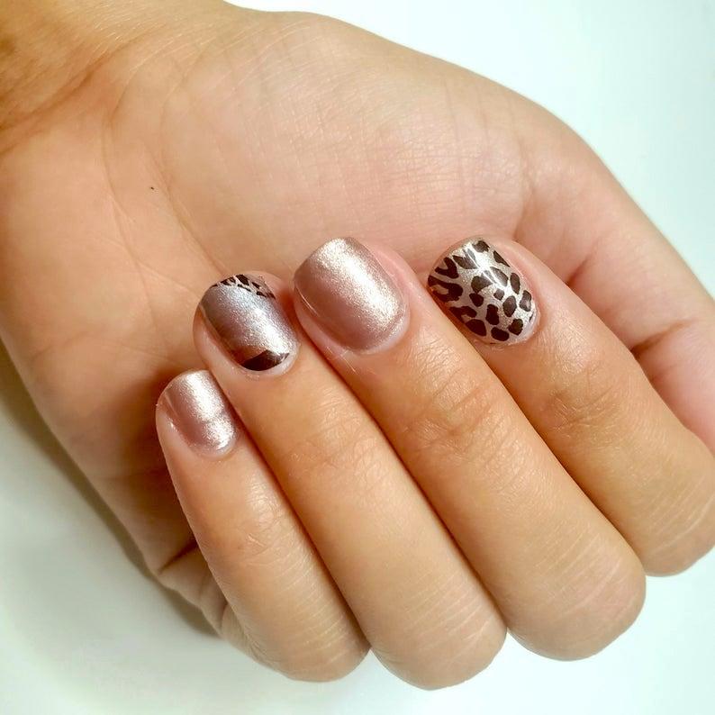 Rose gold leopard print nail art