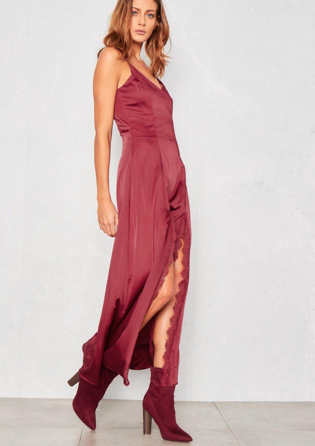 Wine red summer maxi dress satin
