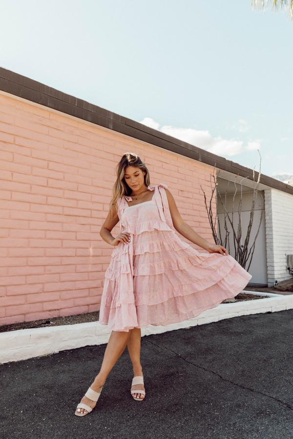 Dusty pink maxi dress with ruffles from Luca + Grae