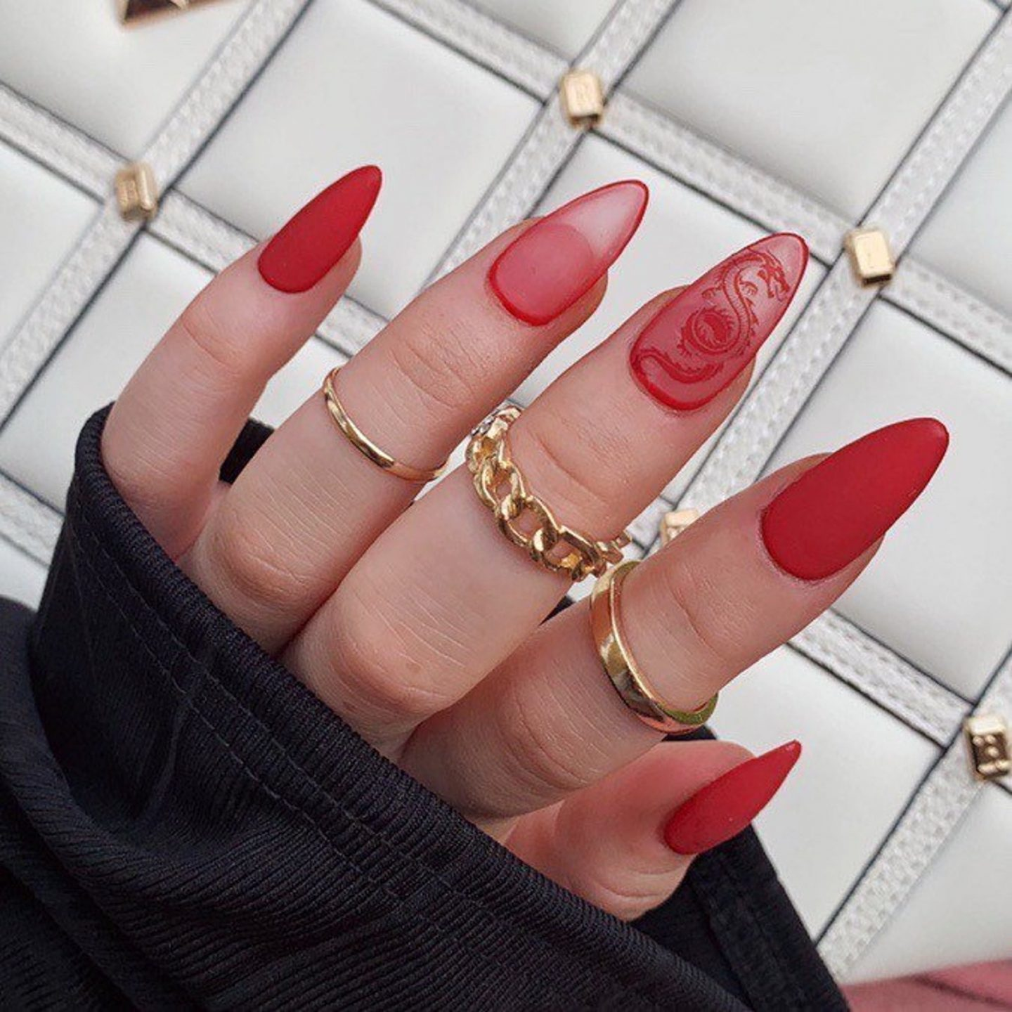 Matte red nails with dragon nail art for Chinese New Year