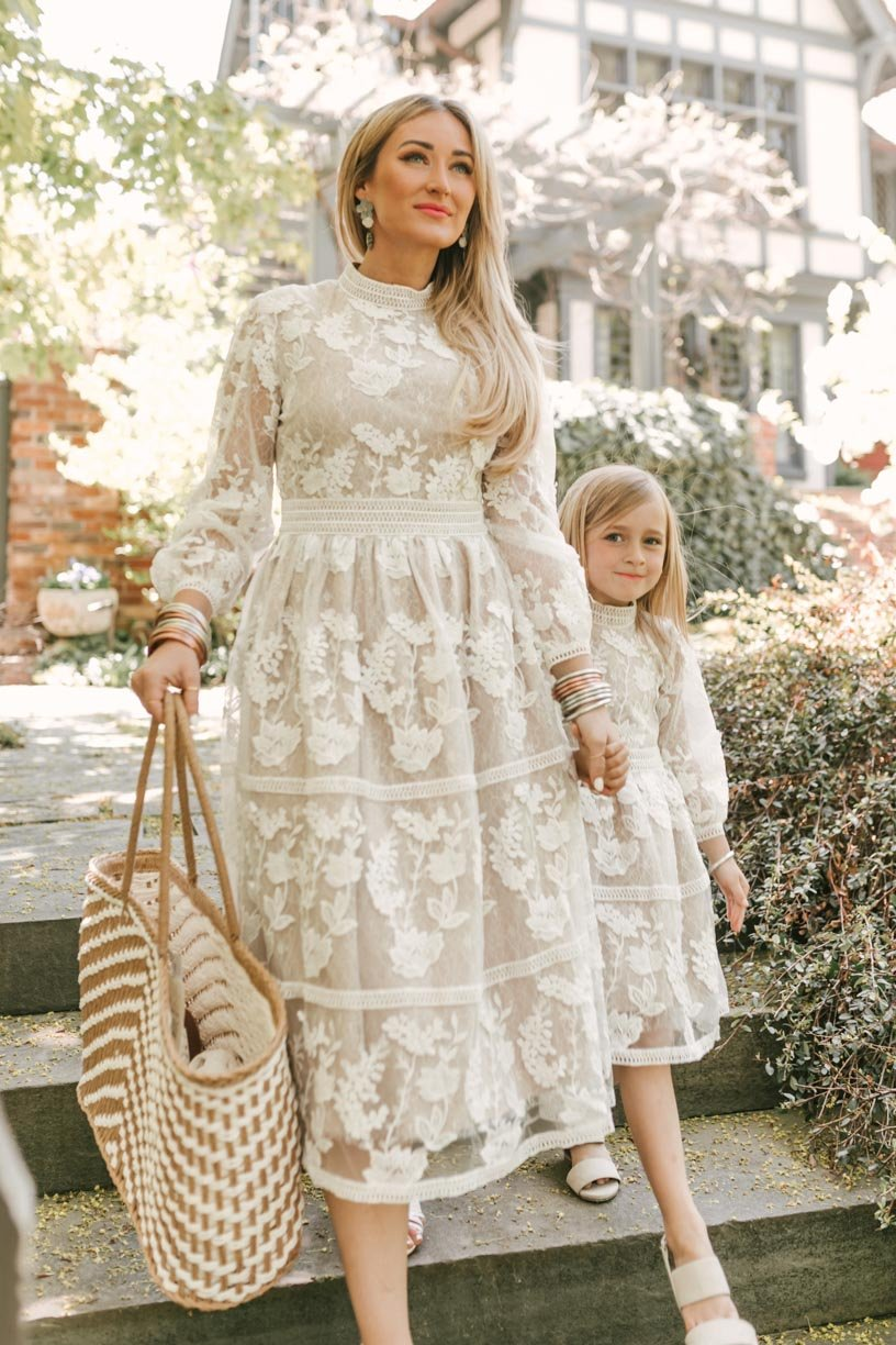 Gorgeous matching mommy and me white lace dresses