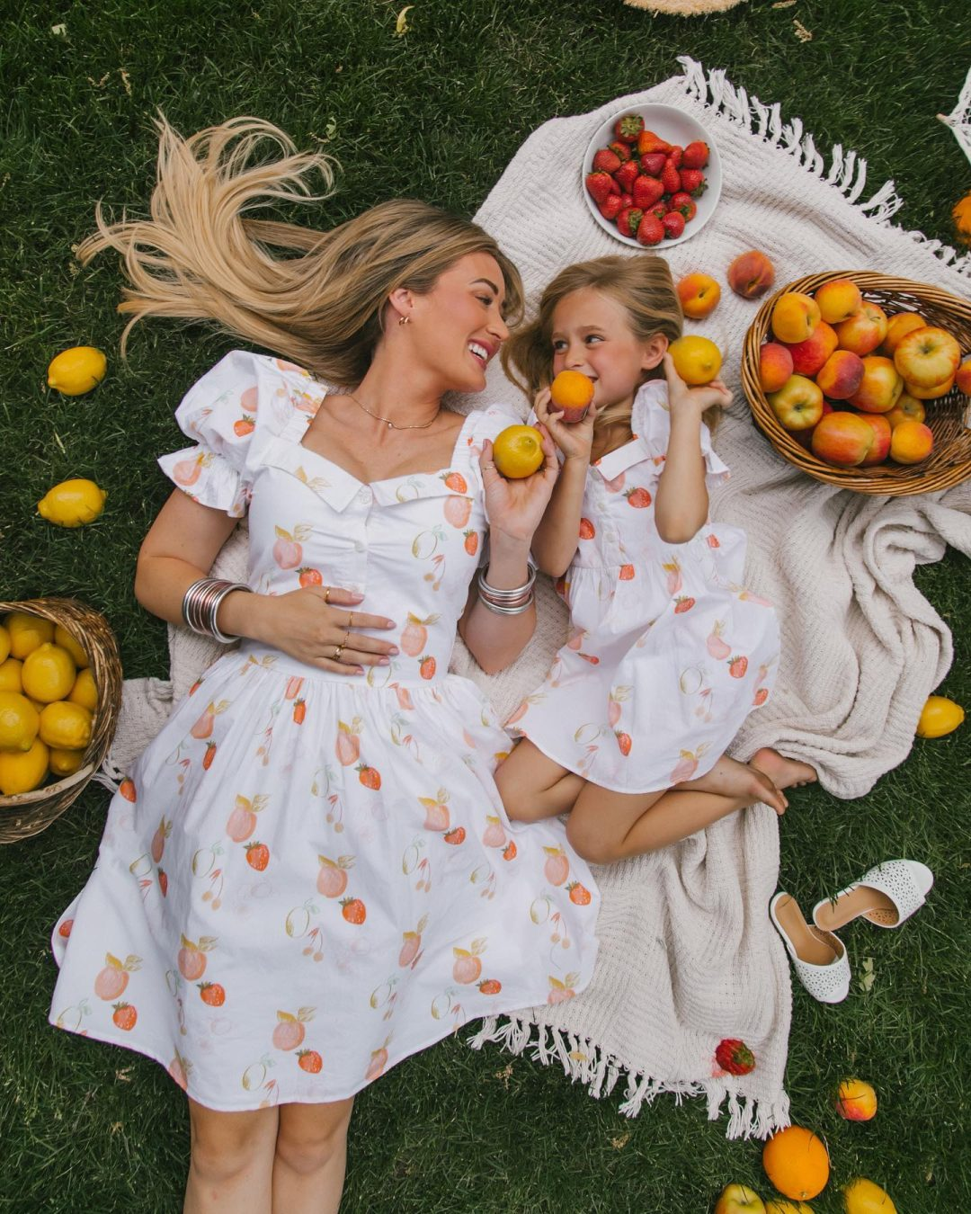 Matching white mommy and me dress with lemon and orange print
