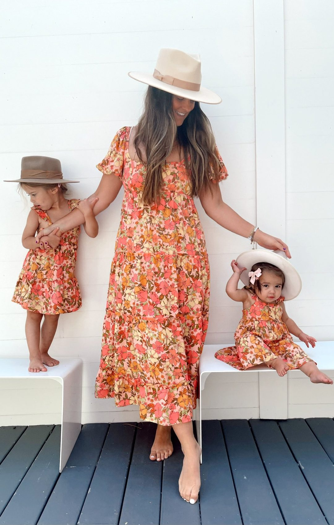 Cute orange summer mommy and me outfits for mom and girls