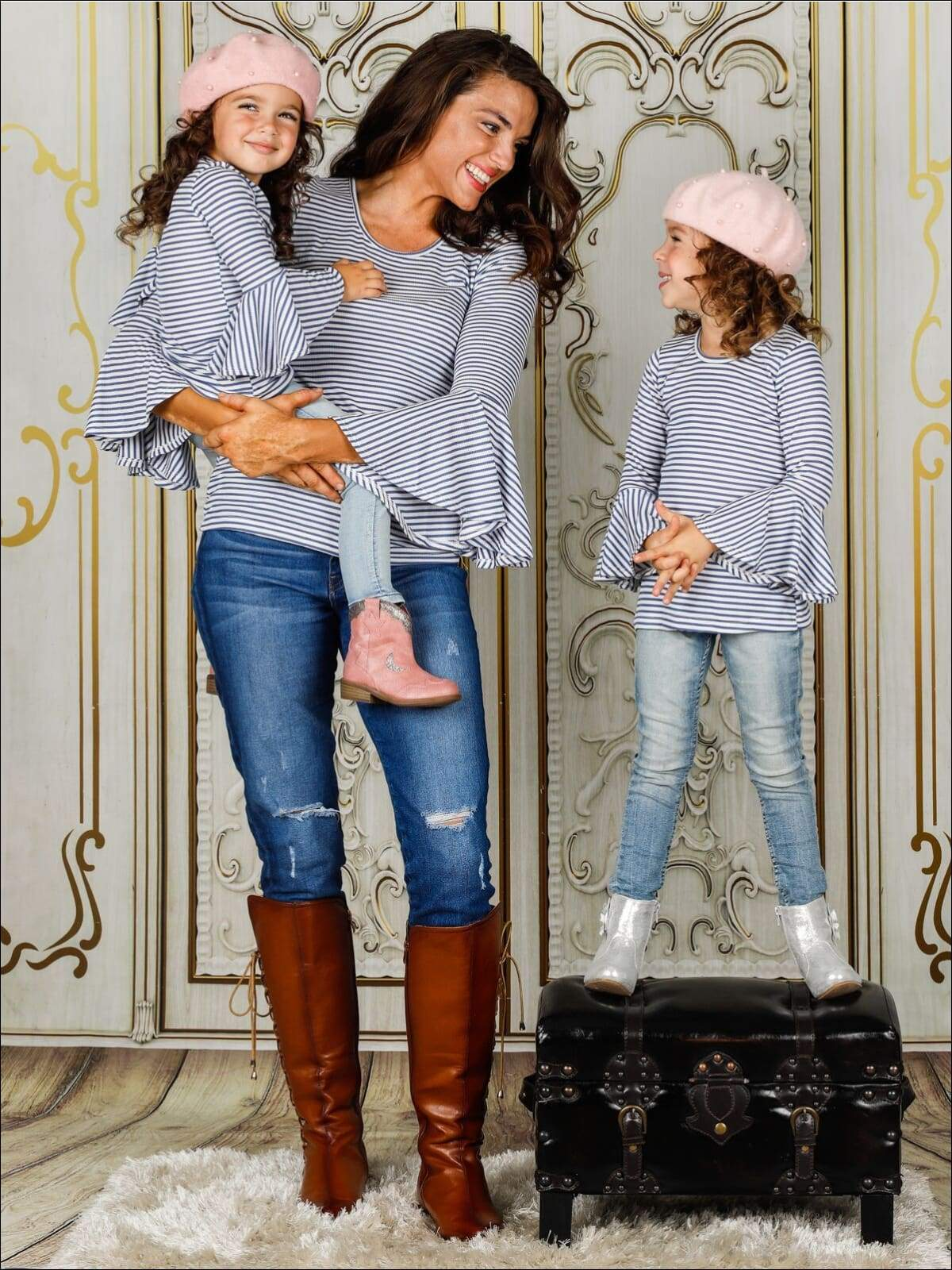 French girl style matching mommy and me outfits with striped shirt