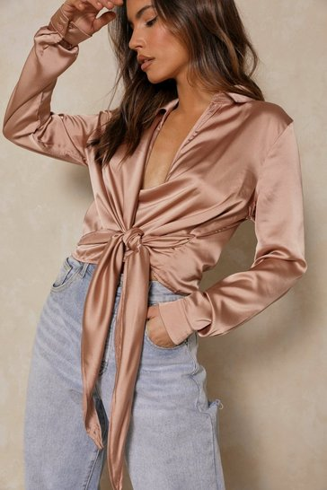 Taupe satin wrap shirt with v-neck