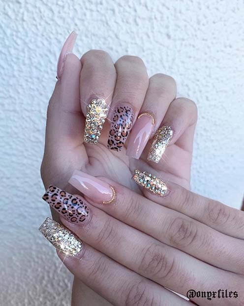 Leopard nails with glitter and rhinestones