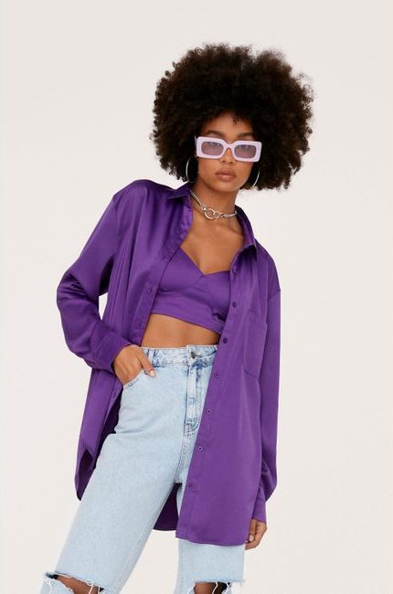 Purple bralette and shirt outfit with jeans