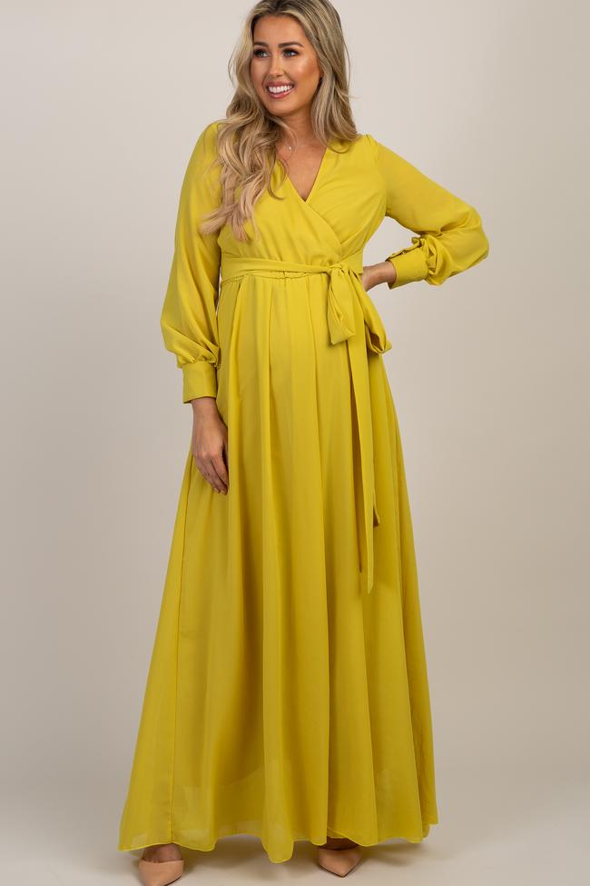 Yellow lon sleeve maxi maternity dress with wrap detail for nursing