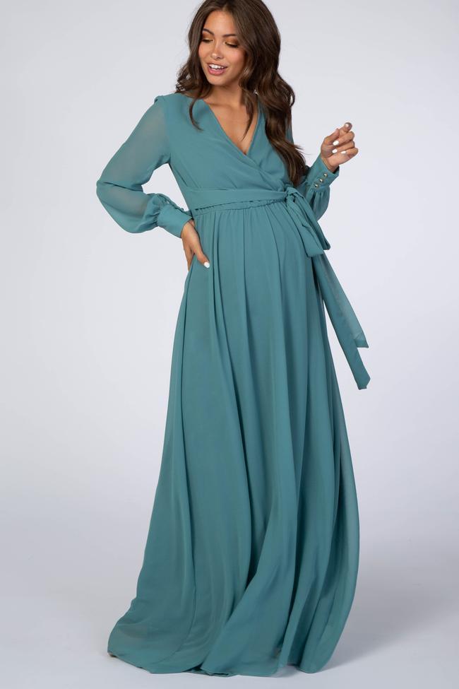 Jade long sleeve maxi dress for nursing and maternity