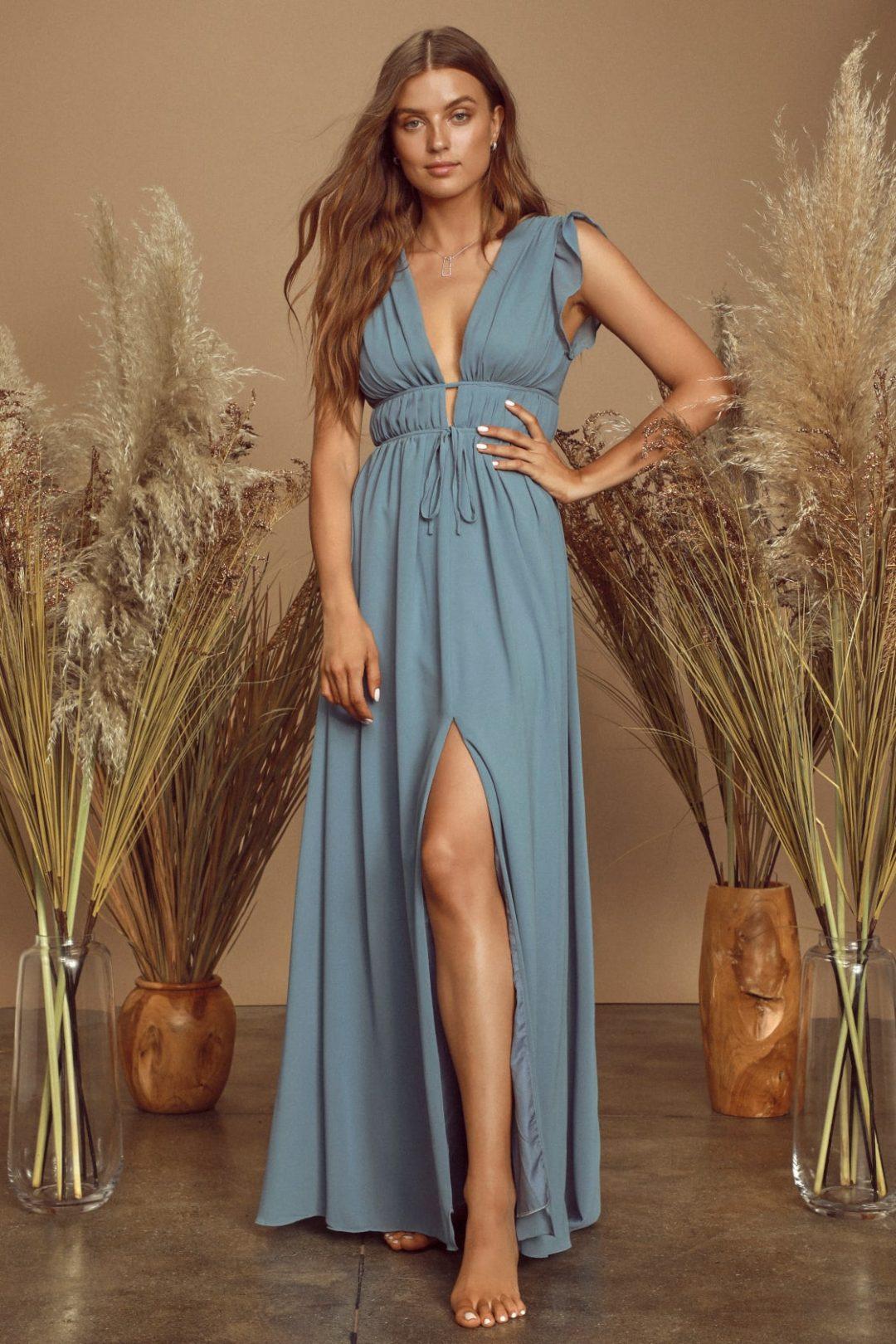 Slate blue nursing dress for wedding guest