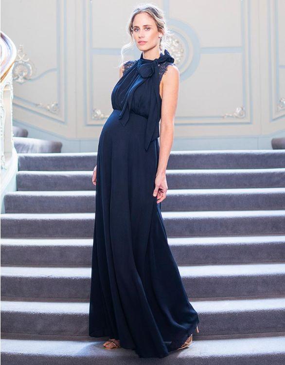 Dark blue elegant nursing gown with necktie ribbon for the breastfeeding wedding guest