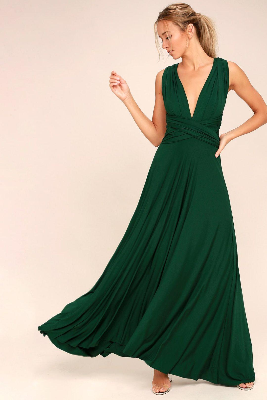 Forest green nursing dress for wedding guest