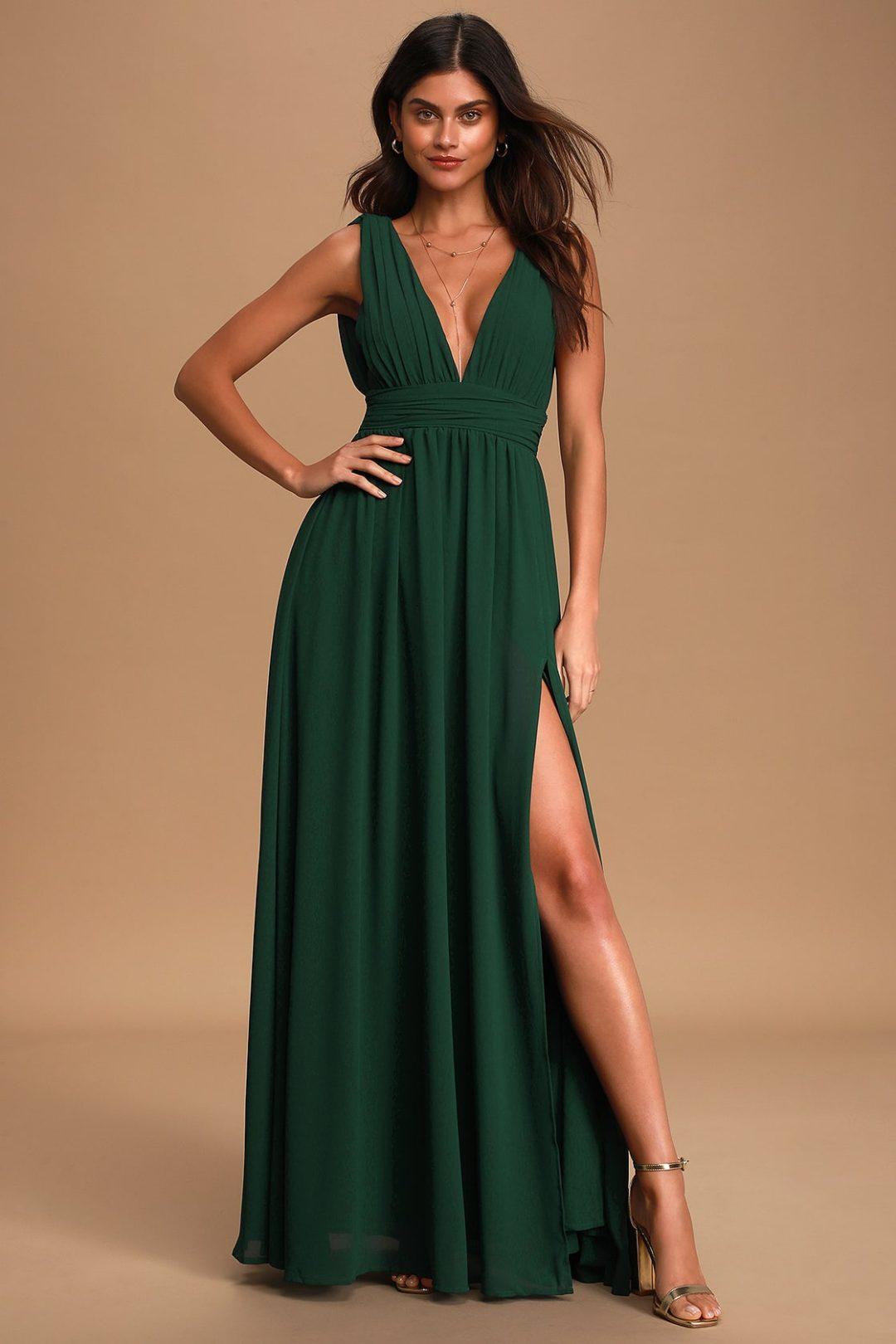Forest green nursing dress for breastfeeding wedding guest