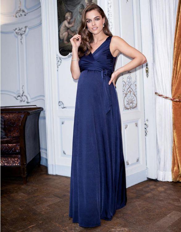 Navy blue elegant nursing evening dress for breastfeeding wedding guest