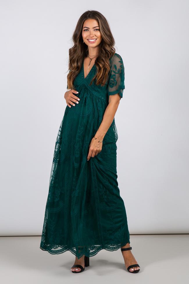 Forest green mesh long maternity dress