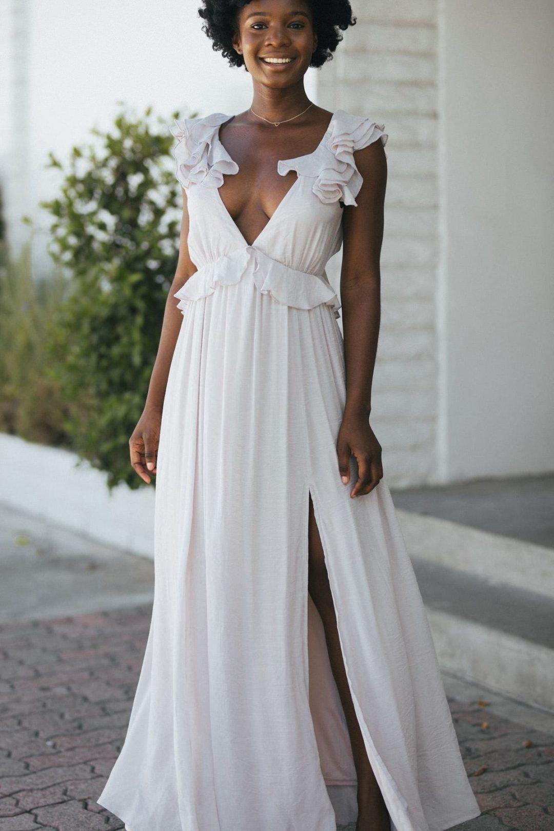 Light grey elegant nursing dress for wedding guest with v-neck