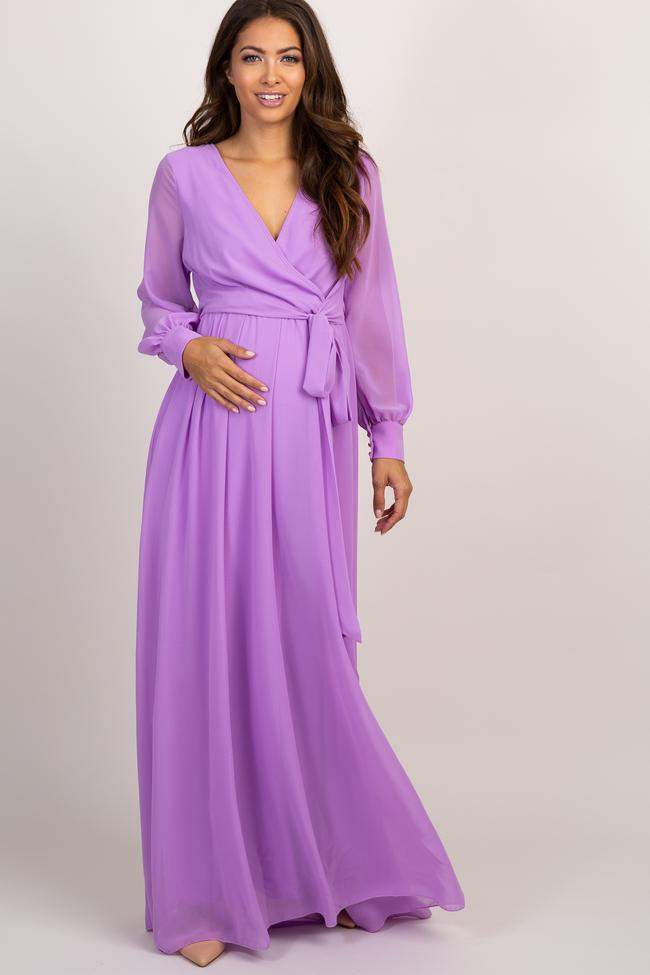 Lavender long sleeve chiffon nursing and maternity dress for wedding guest