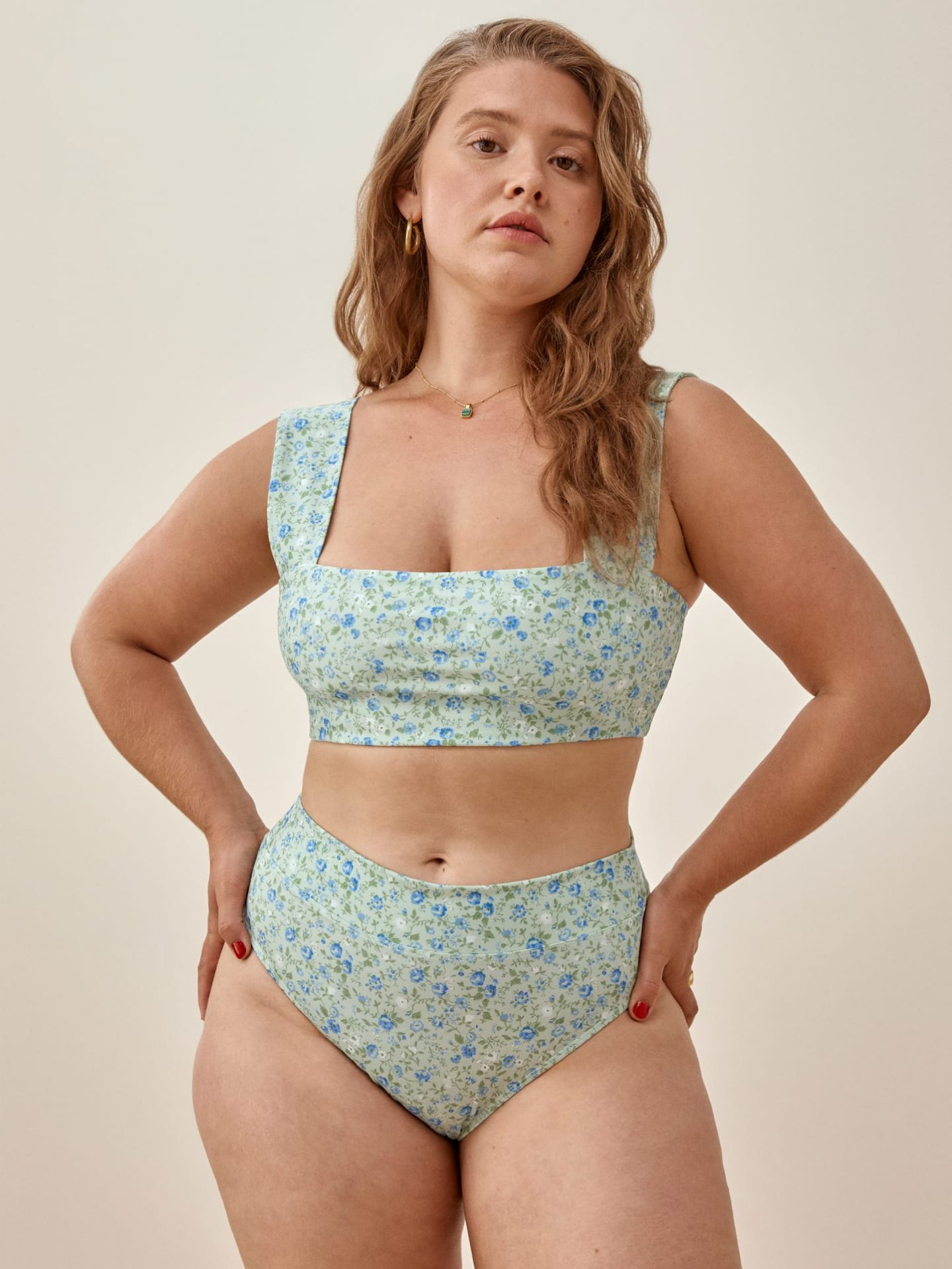 Square neck floral bikini top from Reformation for broad shoulders