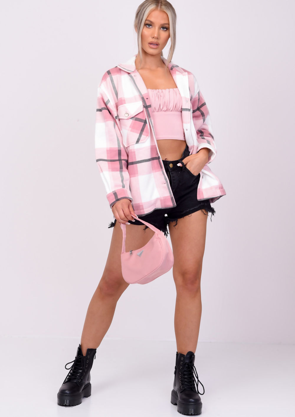 Pink plaid jacket for aesthetic outfits