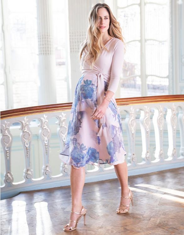 Blue long-sleeved wrap maternity dress for special occasions
