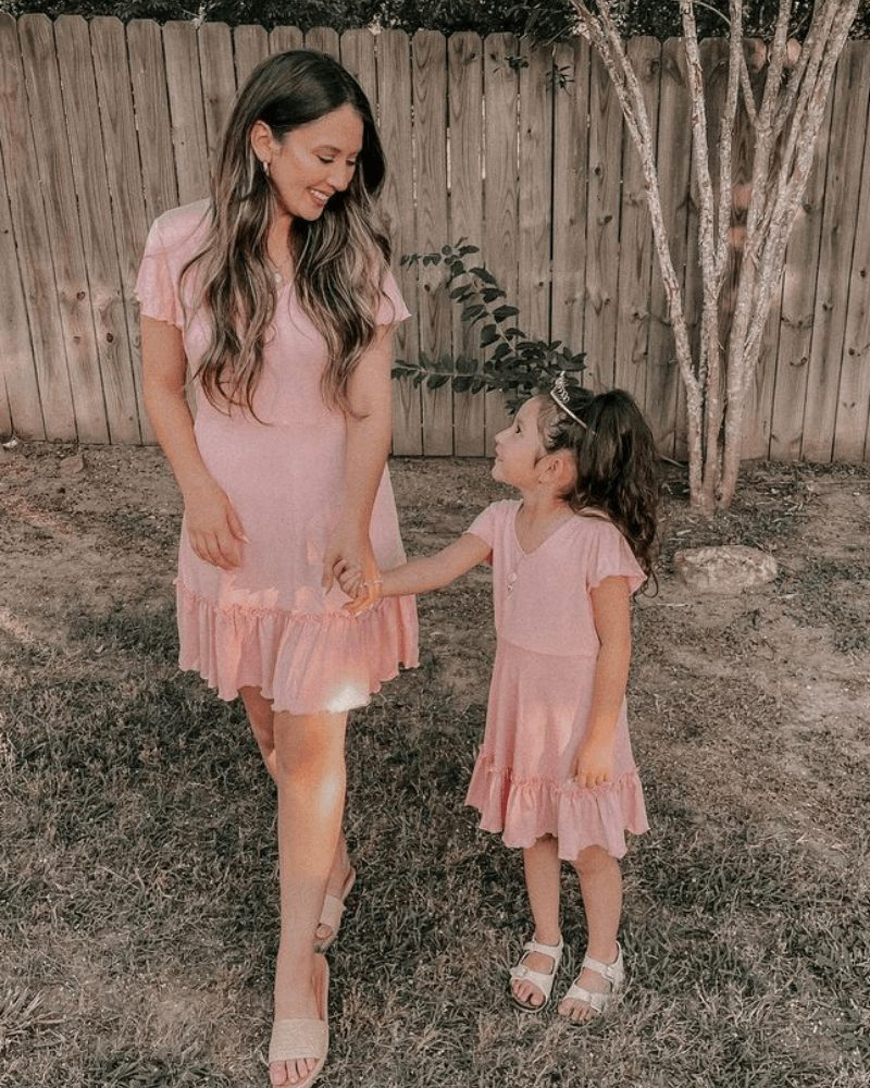 Dusty pink dress mommy and me outfit