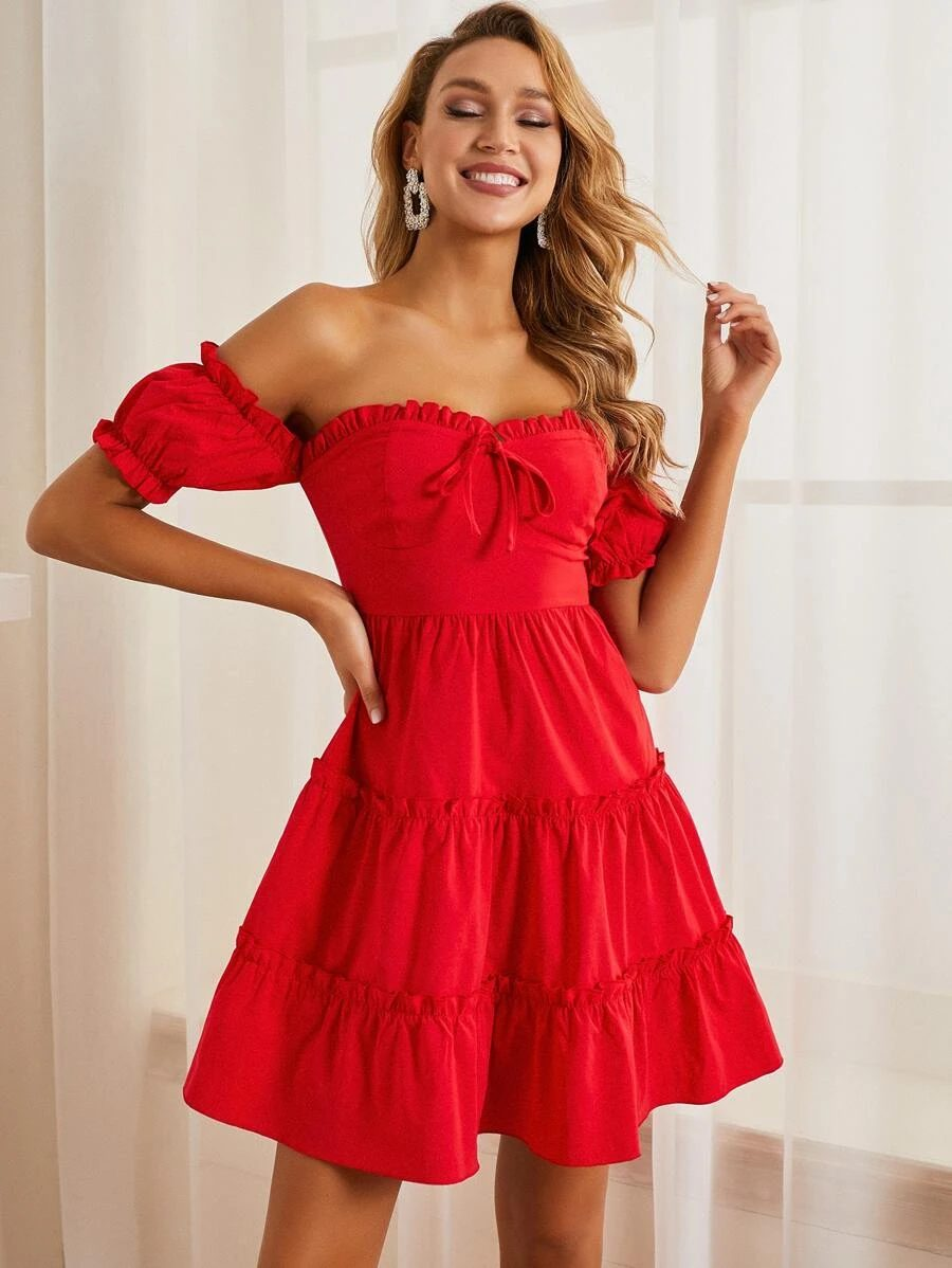 Cute red sundress with ruffles